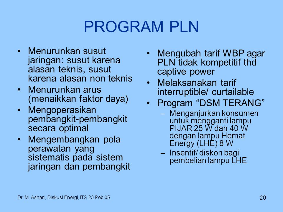 PROGRAM PLN Menurunkan susut jaringan: susut karena alasan teknis, susut karena alasan non teknis. Menurunkan arus (menaikkan faktor daya)