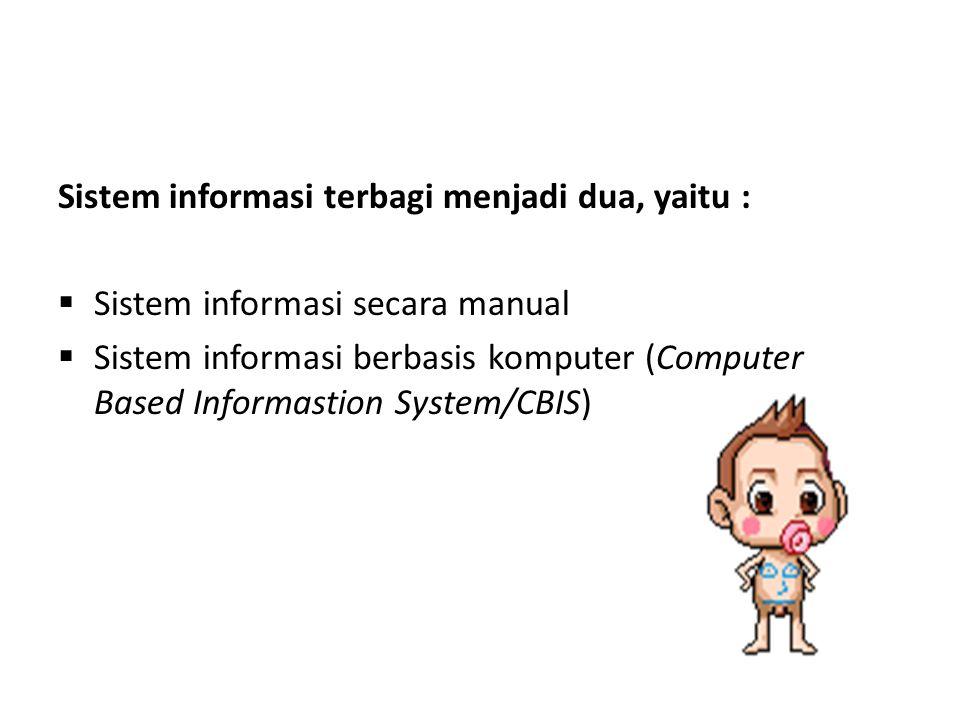 Sistem informasi terbagi menjadi dua, yaitu :