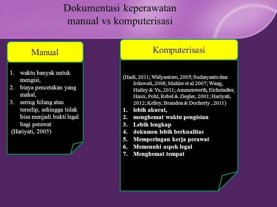Dokumentasi keperawatan manual vs komputerisasi