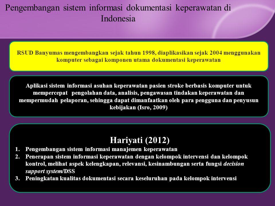 Pengembangan sistem informasi dokumentasi keperawatan di Indonesia