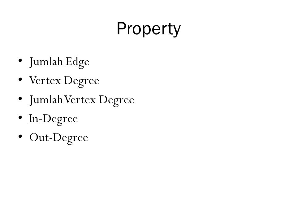 Property Jumlah Edge Vertex Degree Jumlah Vertex Degree In-Degree
