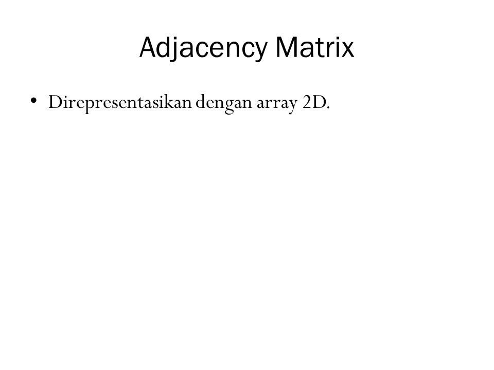 Adjacency Matrix Direpresentasikan dengan array 2D.