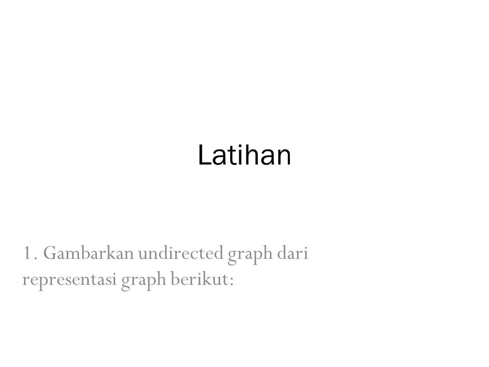 1. Gambarkan undirected graph dari representasi graph berikut: