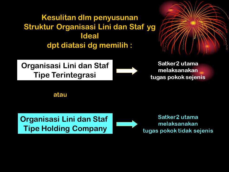 Kesulitan dlm penyusunan Struktur Organisasi Lini dan Staf yg Ideal