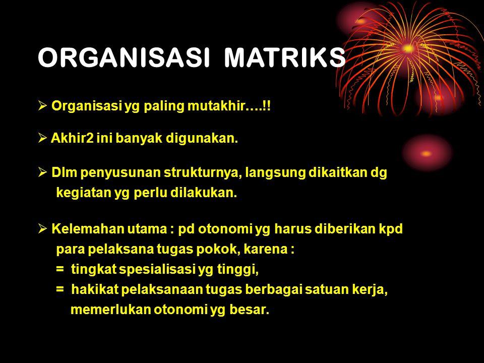 ORGANISASI MATRIKS Organisasi yg paling mutakhir….!!