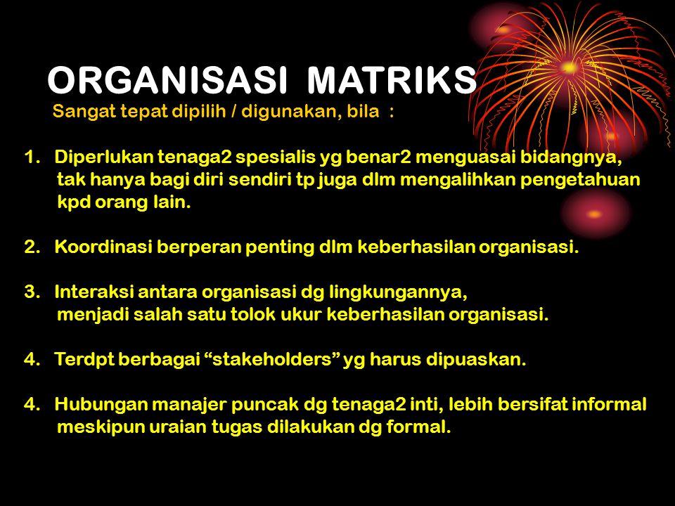 ORGANISASI MATRIKS Sangat tepat dipilih / digunakan, bila :