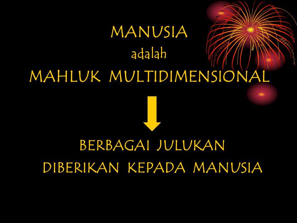 MAHLUK MULTIDIMENSIONAL DIBERIKAN KEPADA MANUSIA