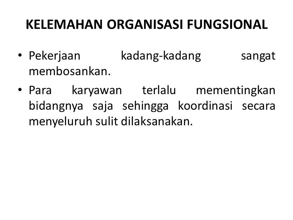 KELEMAHAN ORGANISASI FUNGSIONAL