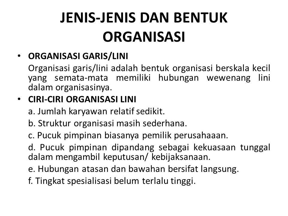 JENIS-JENIS DAN BENTUK ORGANISASI