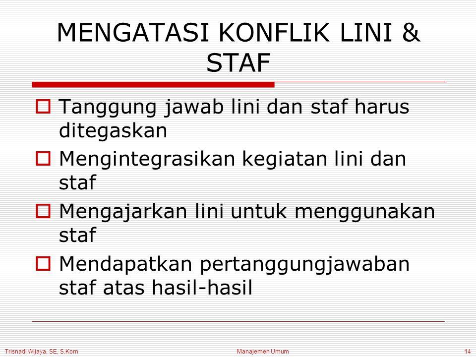 MENGATASI KONFLIK LINI & STAF