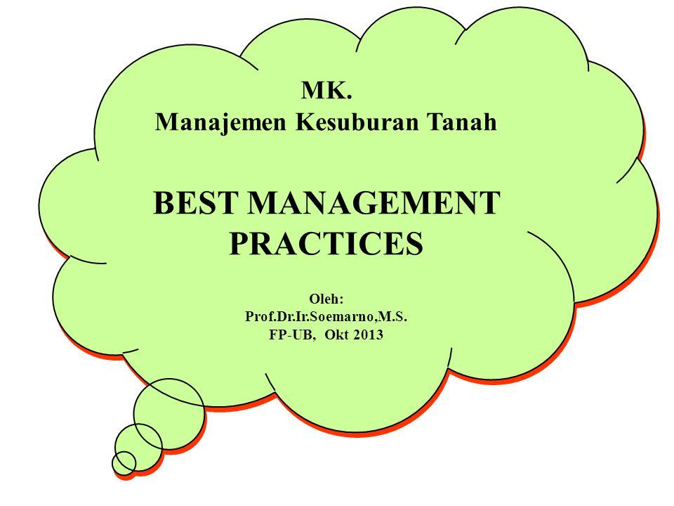 Manajemen Kesuburan Tanah BEST MANAGEMENT PRACTICES