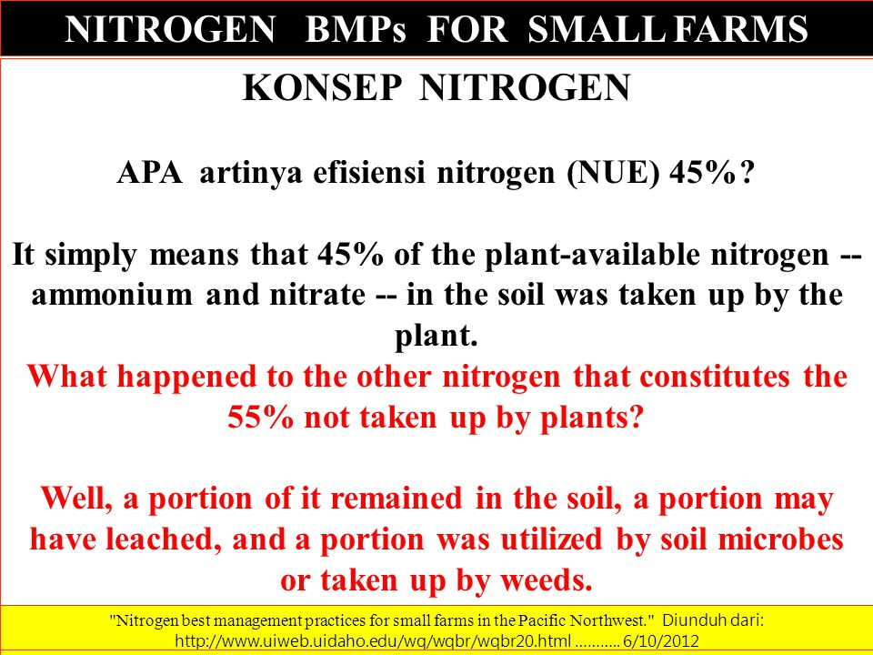 NITROGEN BMPs FOR SMALL FARMS KONSEP NITROGEN