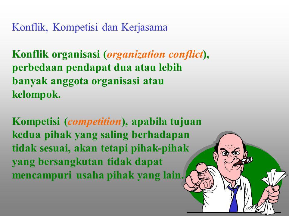 Konflik, Kompetisi dan Kerjasama Konflik organisasi (organization conflict), perbedaan pendapat dua atau lebih banyak anggota organisasi atau kelompok.