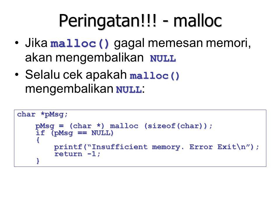 Peringatan!!! - malloc Jika malloc() gagal memesan memori, akan mengembalikan NULL. Selalu cek apakah malloc() mengembalikan NULL: