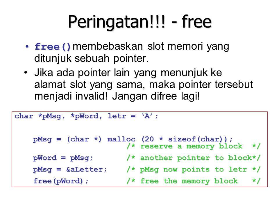 Peringatan!!! - free free()membebaskan slot memori yang ditunjuk sebuah pointer.