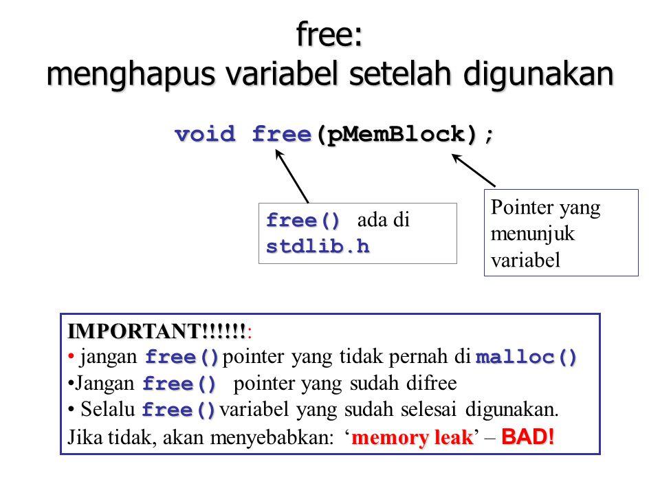 free: menghapus variabel setelah digunakan