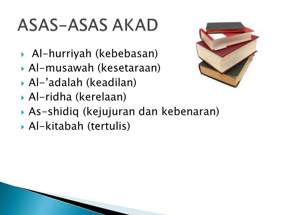 ASAS-ASAS AKAD Al-hurriyah (kebebasan) Al-musawah (kesetaraan)