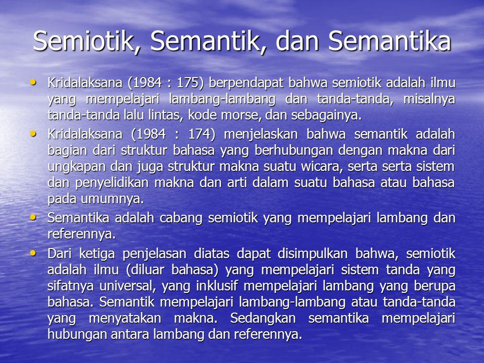 Semiotik, Semantik, dan Semantika