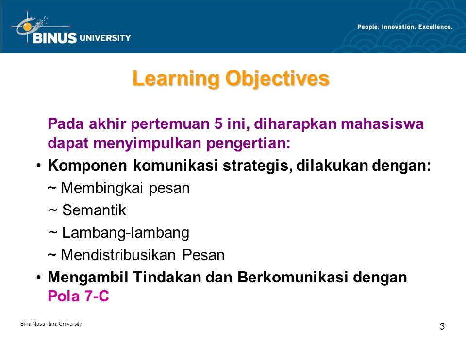Learning Objectives Pada akhir pertemuan 5 ini, diharapkan mahasiswa dapat menyimpulkan pengertian: