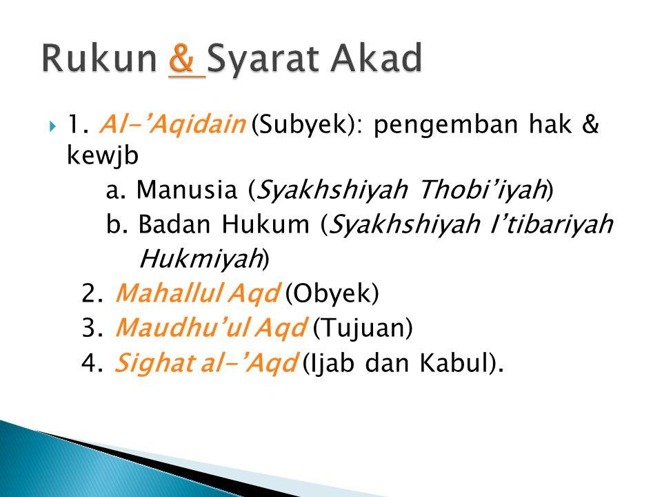 Rukun & Syarat Akad 1. Al-'Aqidain (Subyek): pengemban hak & kewjb