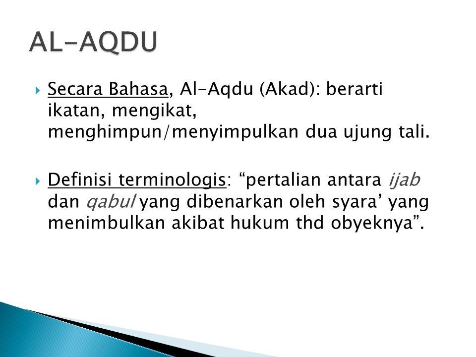 AL-AQDU Secara Bahasa, Al-Aqdu (Akad): berarti ikatan, mengikat, menghimpun/menyimpulkan dua ujung tali.