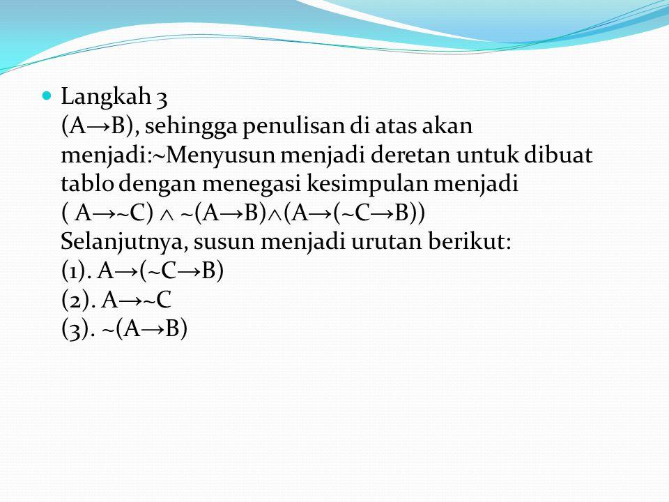 Langkah 3 (A→B), sehingga penulisan di atas akan menjadi:Menyusun menjadi deretan untuk dibuat tablo dengan menegasi kesimpulan menjadi ( A→~C)  ~(A→B)(A→(~C→B)) Selanjutnya, susun menjadi urutan berikut: (1).