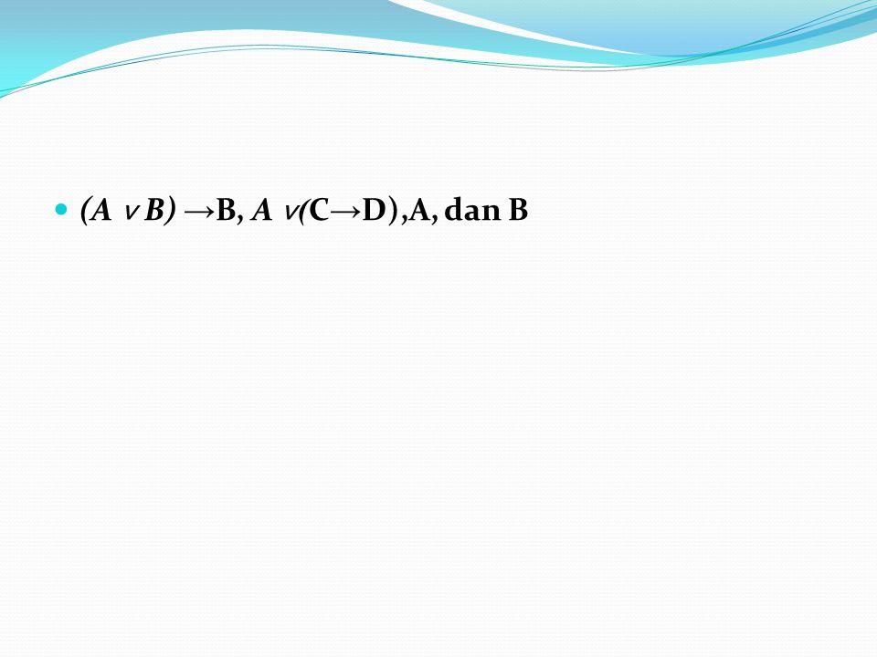 (A ˅ B) →B, A ˅(C→D),A, dan B
