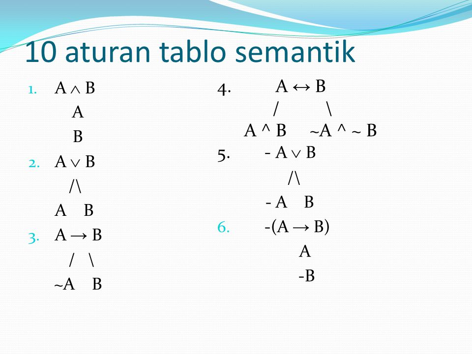 10 aturan tablo semantik A ↔ B / \ A ^ B ~A ^ ~ B - A  B A  B A B