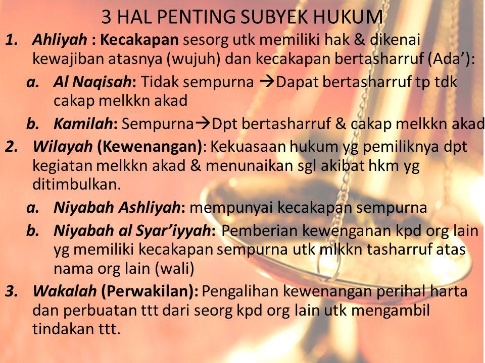 3 HAL PENTING SUBYEK HUKUM
