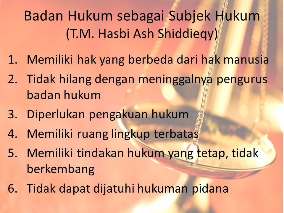 Badan Hukum sebagai Subjek Hukum (T.M. Hasbi Ash Shiddieqy)