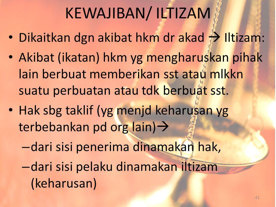 KEWAJIBAN/ ILTIZAM Dikaitkan dgn akibat hkm dr akad  Iltizam: