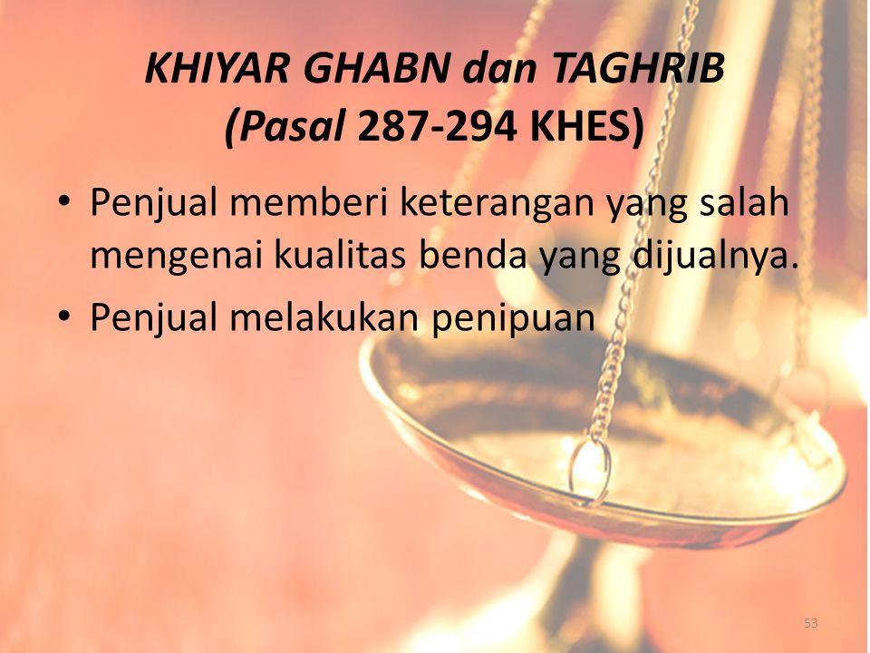 KHIYAR GHABN dan TAGHRIB (Pasal 287-294 KHES)