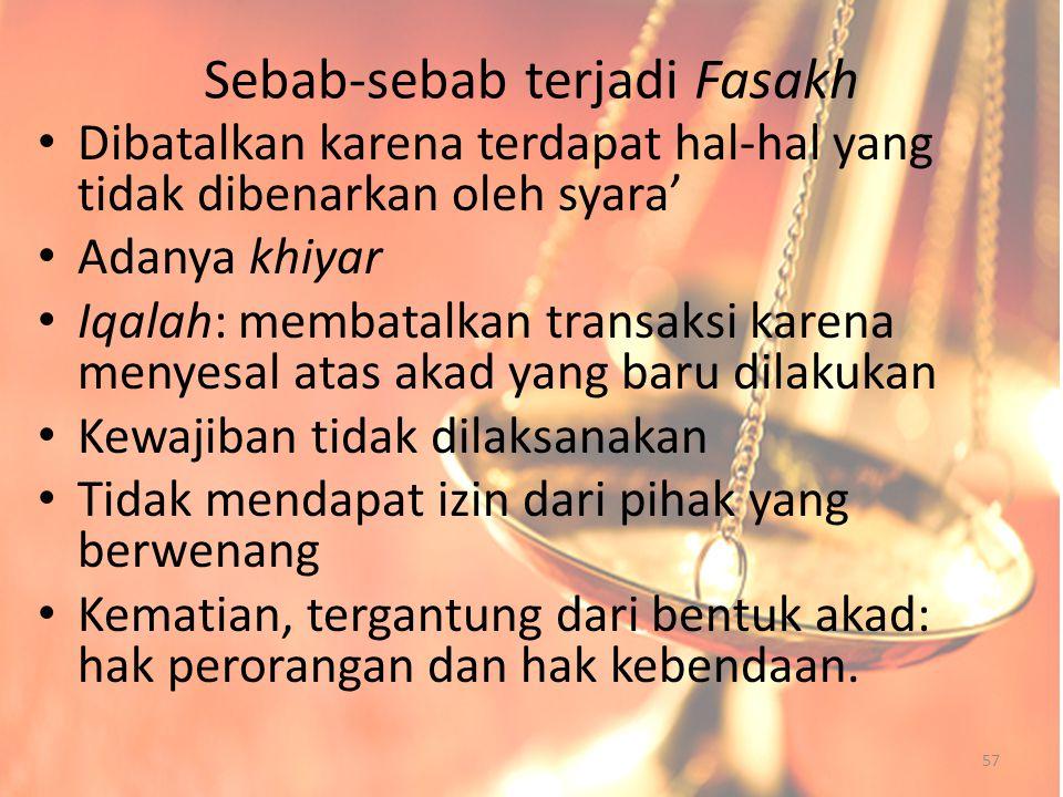 Sebab-sebab terjadi Fasakh