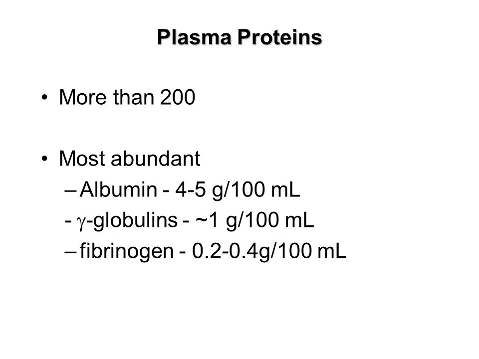 Plasma Proteins More than 200. Most abundant. Albumin - 4-5 g/100 mL. - g-globulins - ~1 g/100 mL.