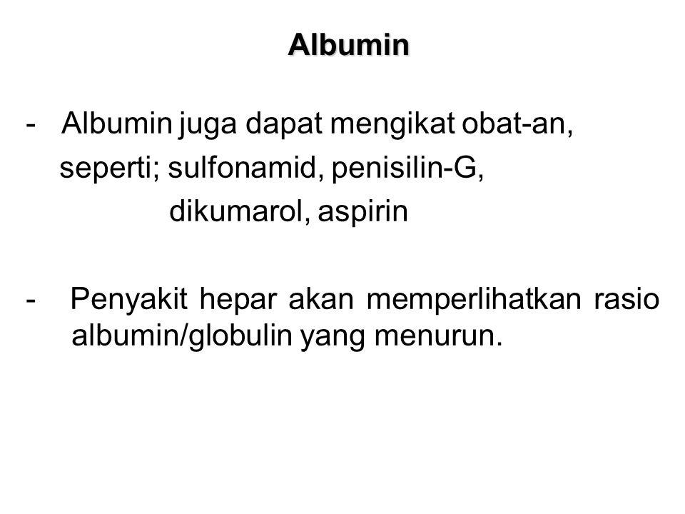 Albumin - Albumin juga dapat mengikat obat-an, seperti; sulfonamid, penisilin-G, dikumarol, aspirin.