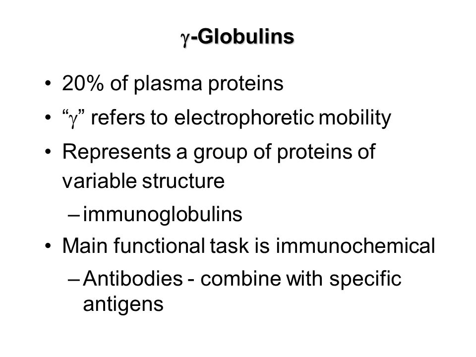 g-Globulins 20% of plasma proteins. g refers to electrophoretic mobility. Represents a group of proteins of variable structure.