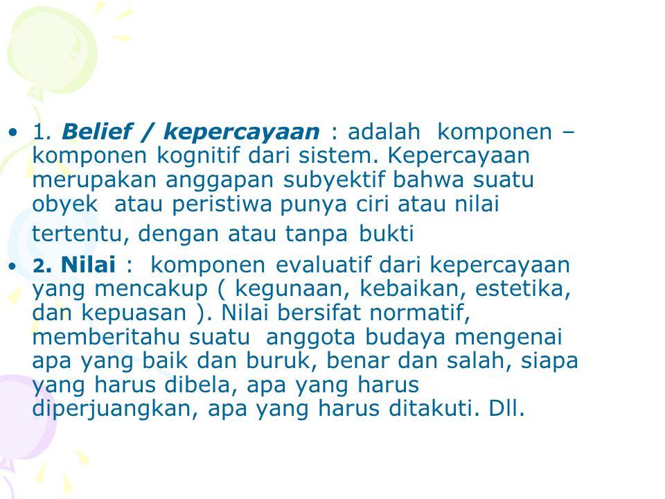 1. Belief / kepercayaan : adalah komponen – komponen kognitif dari sistem. Kepercayaan merupakan anggapan subyektif bahwa suatu obyek atau peristiwa punya ciri atau nilai tertentu, dengan atau tanpa bukti