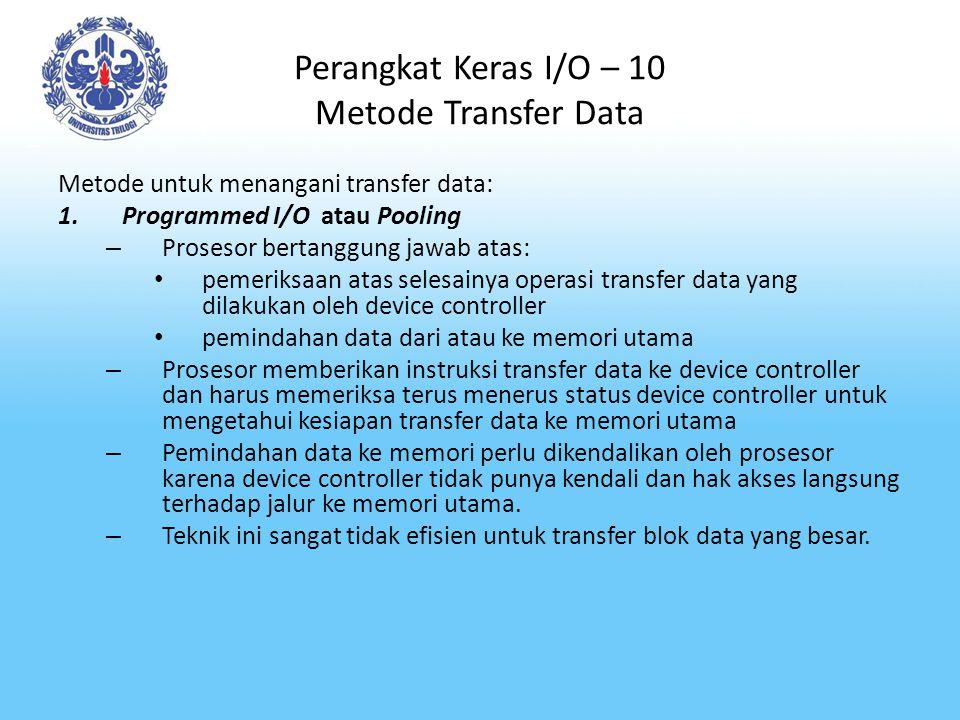 Perangkat Keras I/O – 10 Metode Transfer Data
