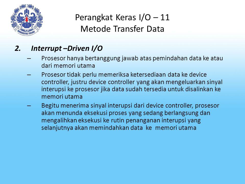 Perangkat Keras I/O – 11 Metode Transfer Data