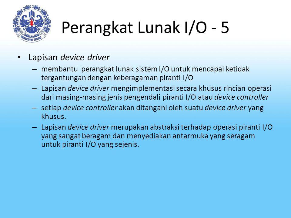 Perangkat Lunak I/O - 5 Lapisan device driver