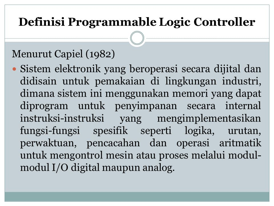 Definisi Programmable Logic Controller