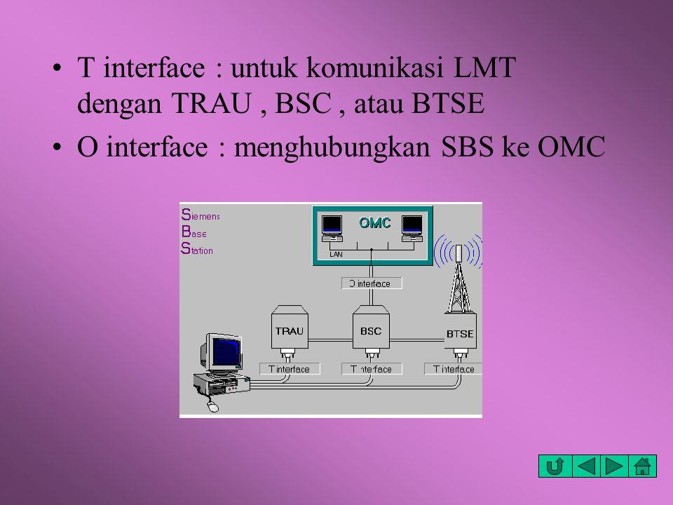T interface : untuk komunikasi LMT dengan TRAU , BSC , atau BTSE