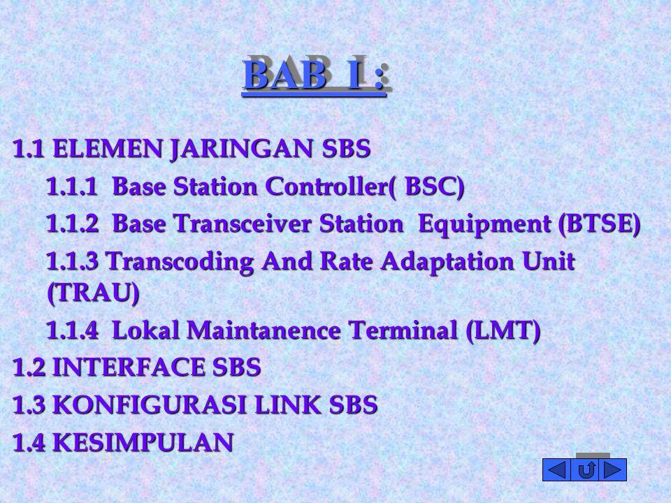 BAB I : 1.1 ELEMEN JARINGAN SBS 1.1.1 Base Station Controller( BSC)