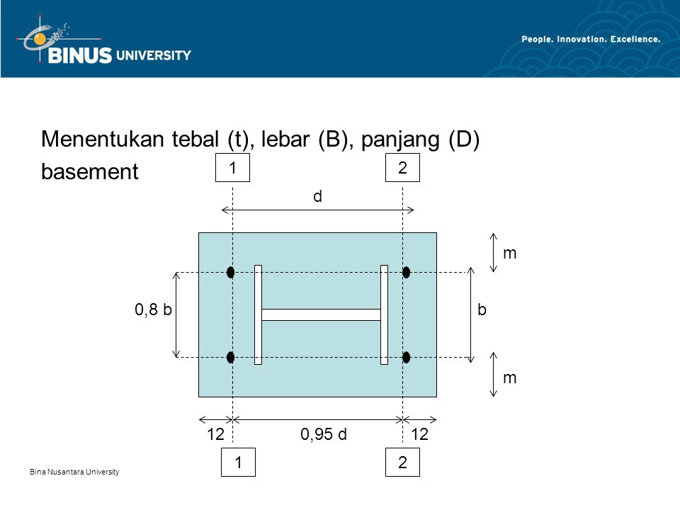 Menentukan tebal (t), lebar (B), panjang (D) basement
