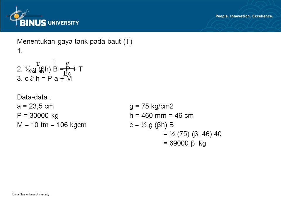 Menentukan gaya tarik pada baut (T) 1. 2. ½ g (βh) B = P + T
