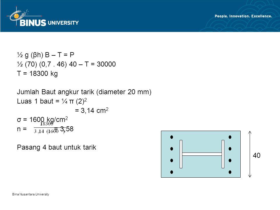 Jumlah Baut angkur tarik (diameter 20 mm) Luas 1 baut = ¼ π (2)2