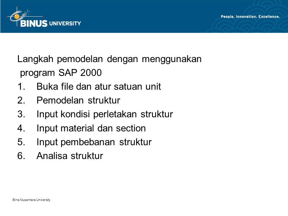Langkah pemodelan dengan menggunakan program SAP 2000