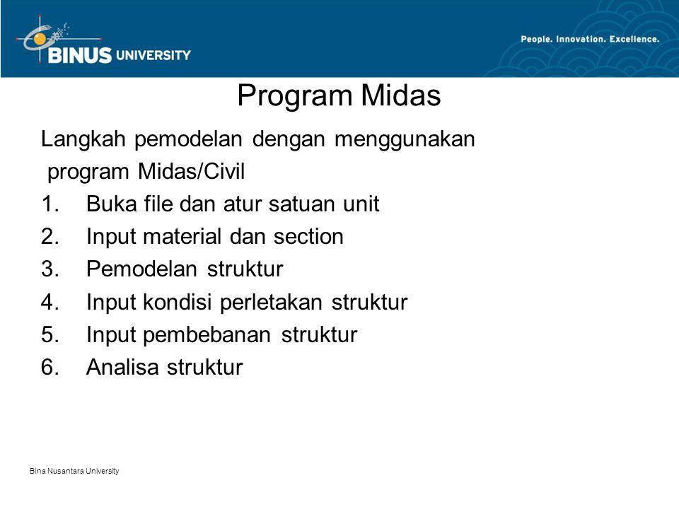 Program Midas Langkah pemodelan dengan menggunakan program Midas/Civil