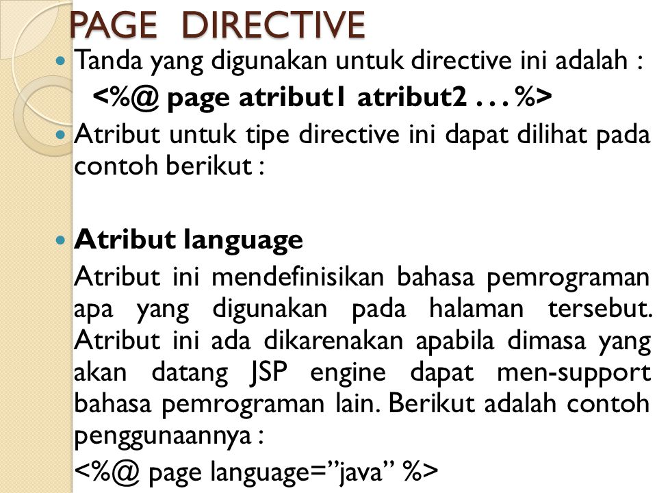 <%@ page atribut1 atribut2 . . . %>