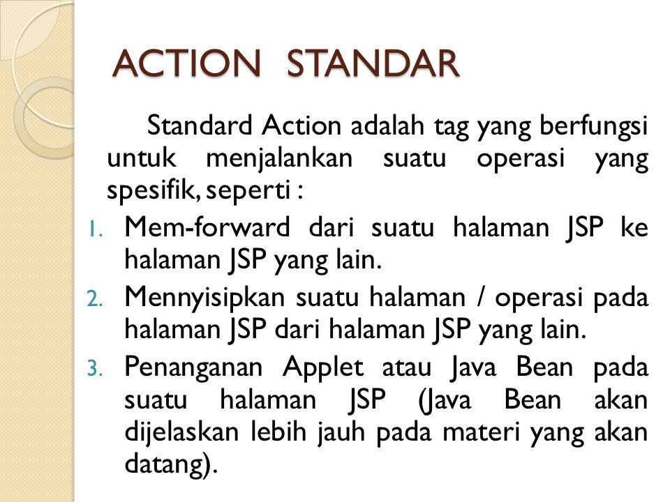 ACTION STANDAR Standard Action adalah tag yang berfungsi untuk menjalankan suatu operasi yang spesifik, seperti :